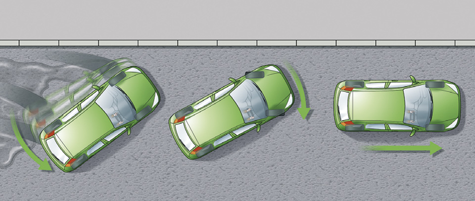 Rule 119: Rear of the car skids to the right. Driver steers to the right