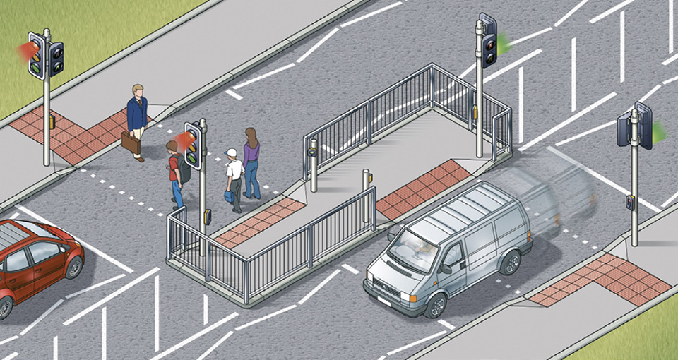Rule 28: Staggered crossings (with an island in the middle) are two separate crossings